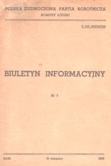 Biuletyn Informacyjny KŁ Komitet Łódzki Polska Zjednoczona Partia Robotnicza PZPR komunizm Łódź Lodz nbs1053