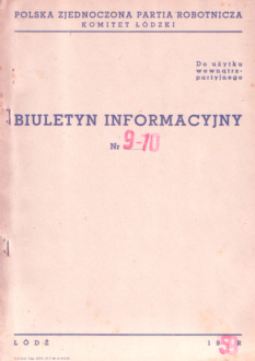 Biuletyn Informacyjny KŁ Komitet Łódzki Polska Zjednoczona Partia Robotnicza PZPR komunizm Łódź Lodz nbs1054