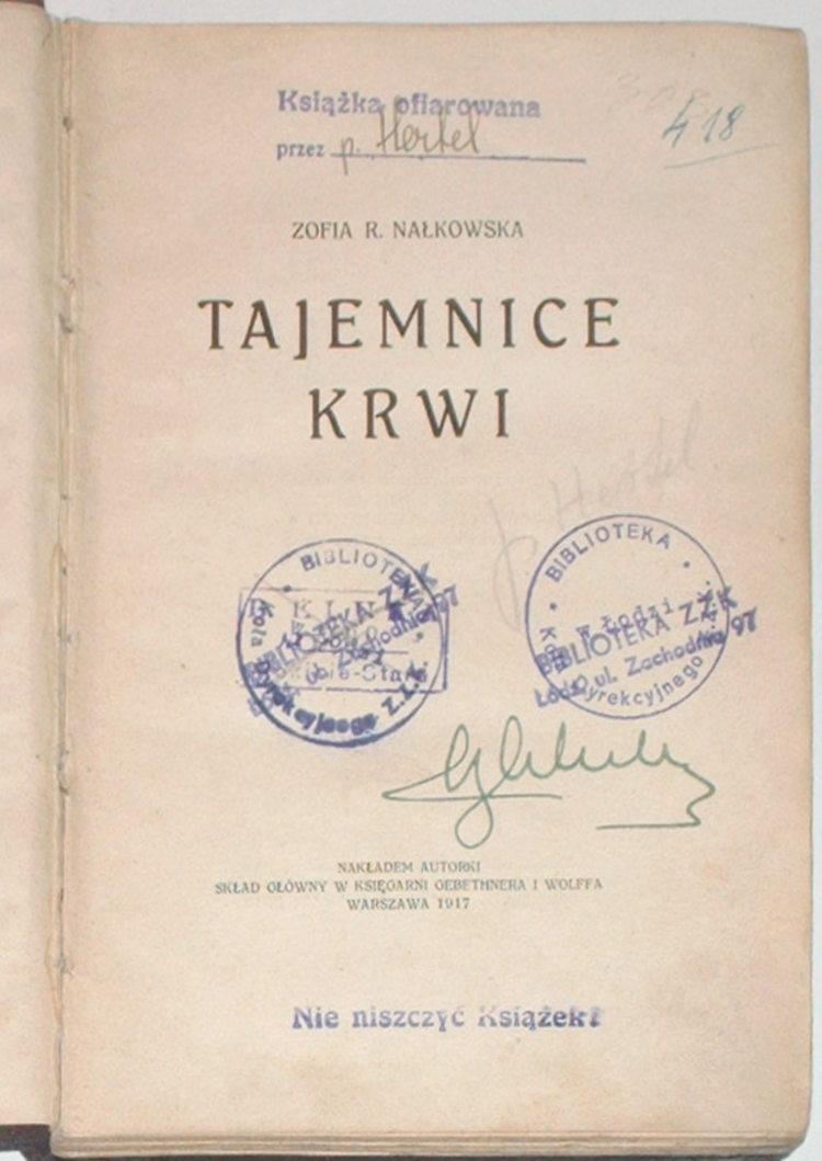 Nalkowska-Zofia-Tajemnice-krwi-GiW-1917-Rekawice-Kochanka-Pour-prendre-conge-Motywy-Tem-zywi-ze-umrzec-moga