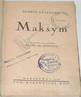 Duvernois Henryk Henri Maksym Taub Rzgowska 76 Pajon de Moncets Mancetf Maxime waa0119