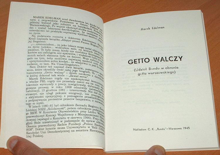 Edelman-Marek-Getto-walczy-Reprint-Lodzka-Ksiegarnia-Niezalezna-1991-ghetto-fights-Holocaust-Warsaw-Uprising-1943