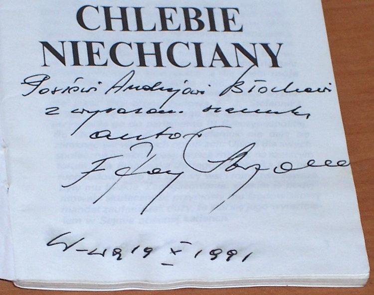 Stefaniuk-Franciszek-Jerzy-Chlebie-niechciany-Warszawa-Wydawnictwo-Ludowe-1991-autograf-dedykacja-dla-posla-Bloch