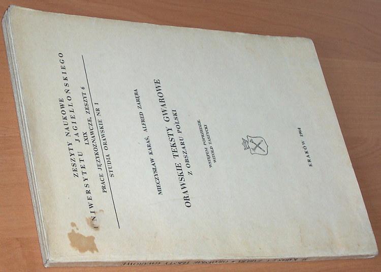 Karas-Mieczyslaw-Zareba-Alfred-Orawskie-teksty-gwarowe-z-obszaru-Polski-Krakow-Uniwersytet-Jagiellonski-PWN-1964