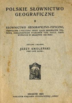 Smoleński Smolenski Słownictwo geograficzno-fizyczne słownik Polskie słownictwo geograficzne geografia wab0222