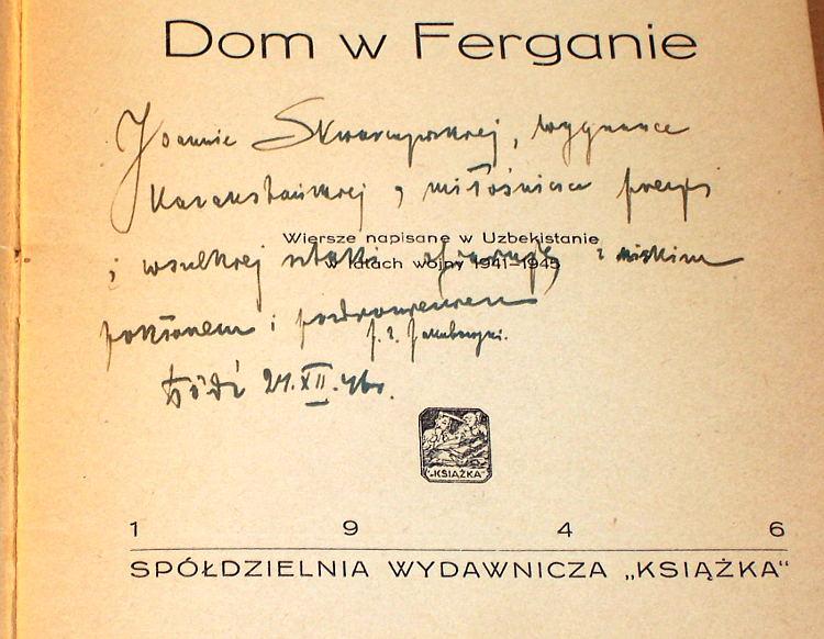 Slobodnik-Dom-w-Ferganie-napisane-w-Uzbekistanie-1941-1945-Ksiazka-1946-Jakubowski-dedyk-dla-Joanny-Skwarczynskiej