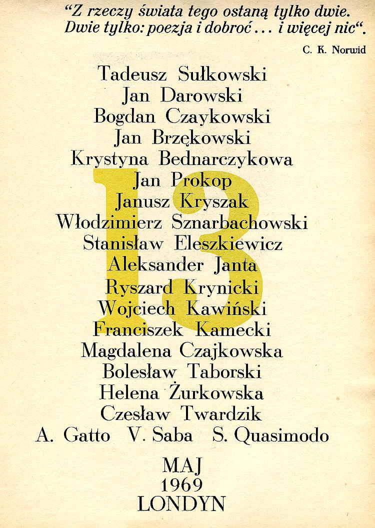 Bednarczyk-Krystyna-Czeslaw-red-Oficyna-Poetow-Kwartalnik-Rok-IV-Nr-2-13-Maj-1969-Londyn-Oficyna-Poetow-i-Malarzy