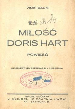 Baum Vicki Miłość Doris Hart Milosc Berman Kariere der Doris Hart Lwów Lwow Lviv Lemberg Boruta Zakłady Chemiczne Zgierz wba0025