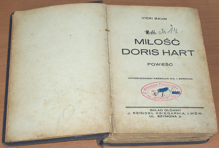 Baum-Vicki-Milosc-Doris-Hart-Powiesc-Lwow-sklad-glowny-J-Reindel-1937-przeklad-Berman-Kariere-der-Doris-Hart-Boruta-Zgierz