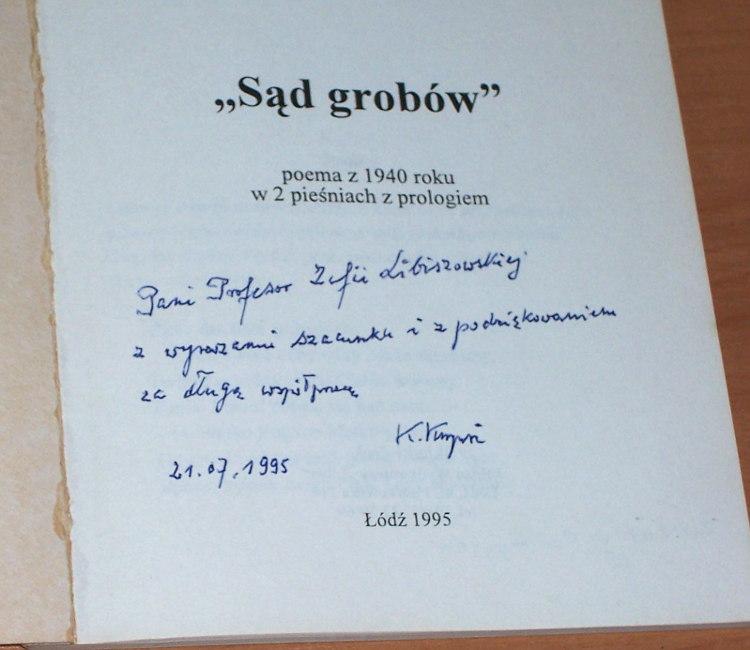 Kazimierz-Juliusz-Kupisz-Kazimierz-Sad-grobow-Poema-z-1940-roku-w-2-piesniach-z-prologiem-Lodz-autor-Liber-1995-Libiszowska