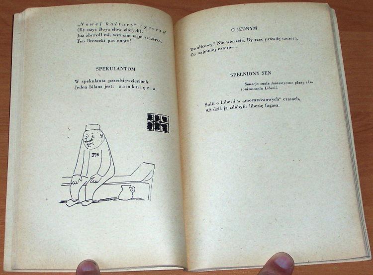 Polanowski-Tadeusz-Kolce-bez-roz-Warszawa-Czytelnik-1955-Biblioteka-Satyry-Ilustr-Zaruba-fraszki-satyra