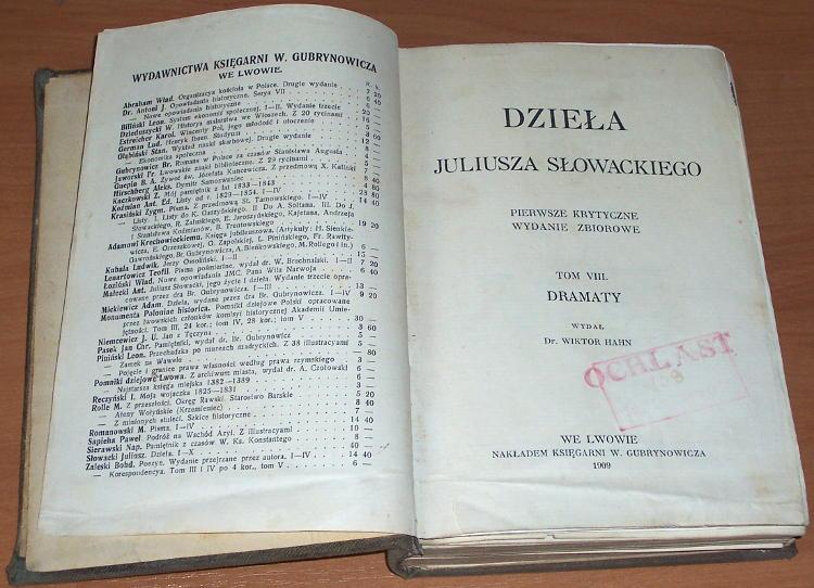 Slowacki-Juliusz-Dziela-Juliusza-Slowackiego-T-VIII-Dramaty-Lwow-Nakl-Gubrynowicza-1909-Ksiadz-Marek-Samuel-Zborowski