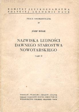 Bubak Nazwiska ludności dawnego starostwa nowotarskiego polskie Nowy Targ onomastyka wba0426