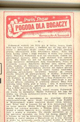 Shaw Pogoda dla bogaczy Powieść Powiesc gazetowa Express Ilustrowany Rich Man Poor Man Beggarman thief Tomaszek wba0427