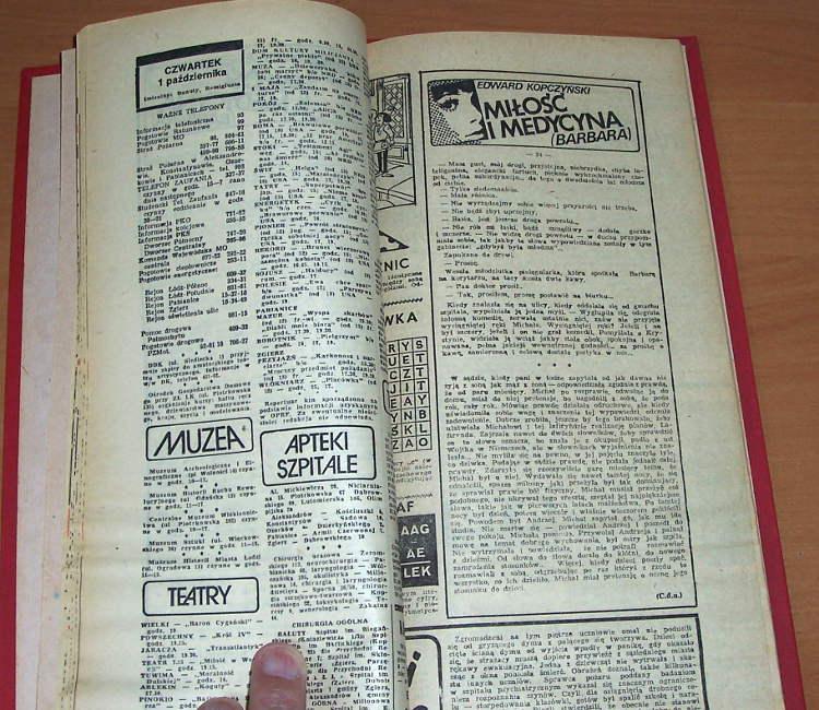 Kopczynski-Edward-Milosc-i-medycyna-Barbara-Lodz-Express-Ilustrowany-1981-Powiesc-gazetowa