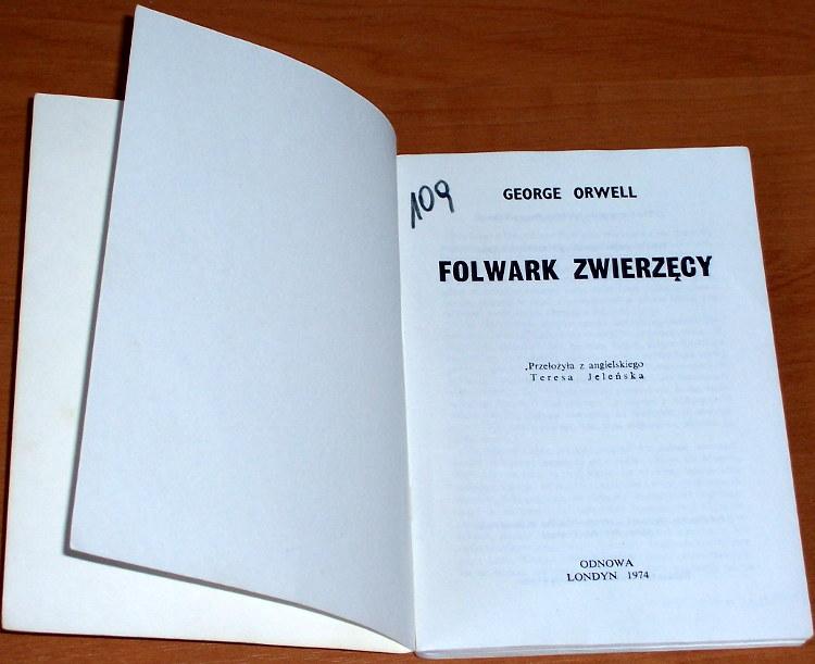 Orwell-George-Folwark-zwierzecy-London-Odnowa-Reprinted-1984-tlum-Jelenska-Animal-Farm