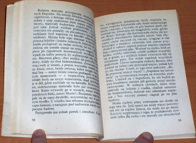 George-Orwell-Folwark-zwierzecy-wyd-II-Warszawa-Wydawnictwa-Alfa-1988-Animal-Farm-tlumaczyl-Zborski-poslowie-Sadkowski