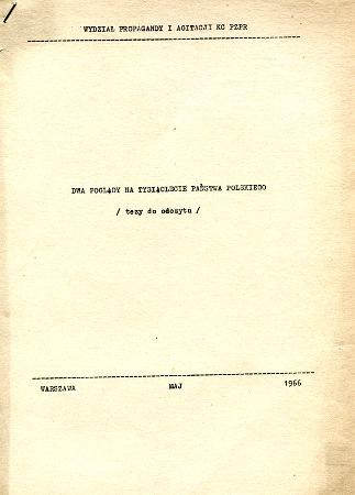 PZPR Milenium Chrztu Polski 1966 millenium Millennium PRL wba0607