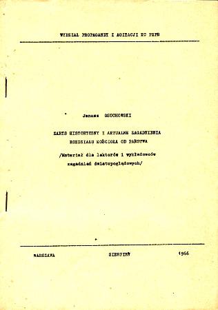Osuchowski Zarys historyczny i aktualne zagadnienia rozdziału kościoła od państwa rozdział PRL 1966 millenium Millennium wba0608