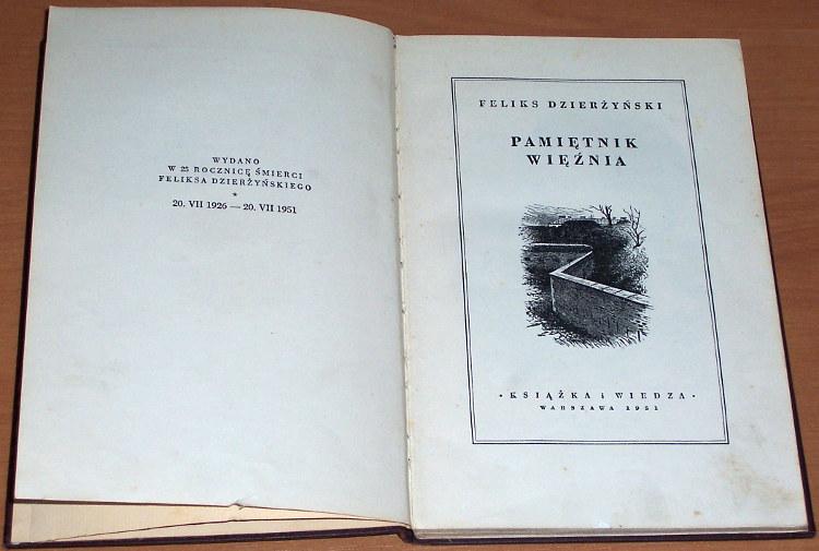 Dzierzynski-Feliks-Pamietnik-wieznia-Warszawa-Ksiazka-i-Wiedza-1951